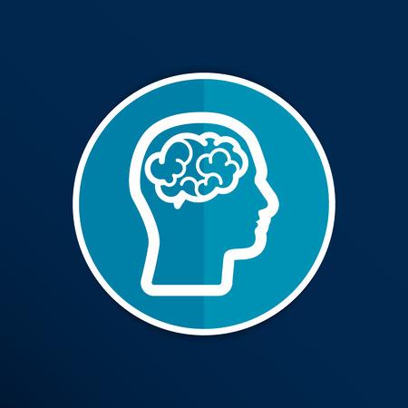 Head brain icon think design over vector illustration. Stock Illustratie