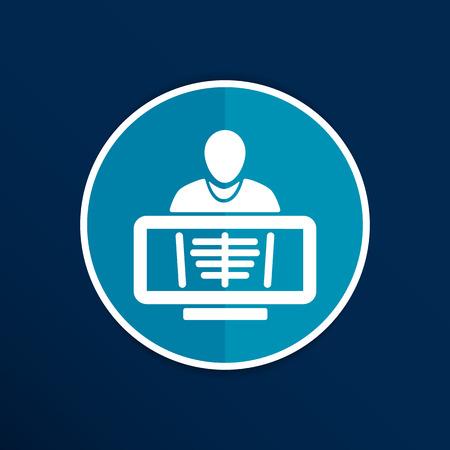 rib cage: X-Ray human rib cage symbol for download icon. Illustration