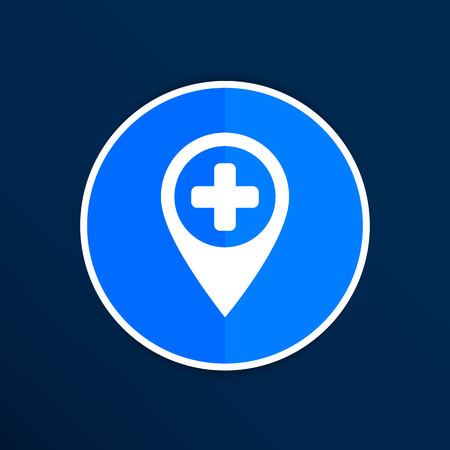 inpatient: Map Pointer Icon With Cross, Hospital, First Aid Sign. Illustration