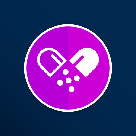 heartache: pill icon tablet pain chemistry aspirin isolated. Illustration