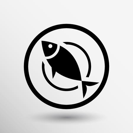 Vismenu pictogram logo seafood vork tonijn vector.