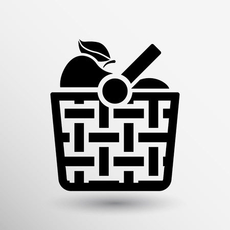 basket: Basket icon with shadow and other picnic icons. Illustration