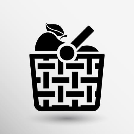 canasta de frutas: Cesta icono con la sombra y otros iconos de picnic.