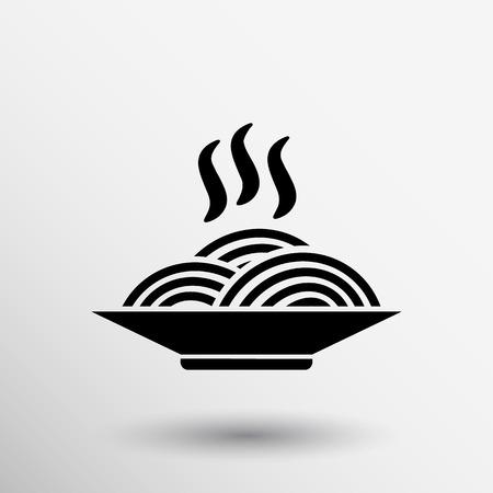 Single black silhouette vector icon bowl with ramen.