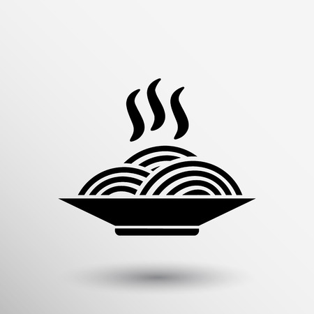 bowl: Single black silhouette vector icon bowl with ramen.
