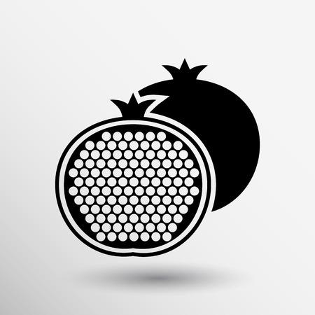 Pomegranate fruit slice whole black silhouette logo.