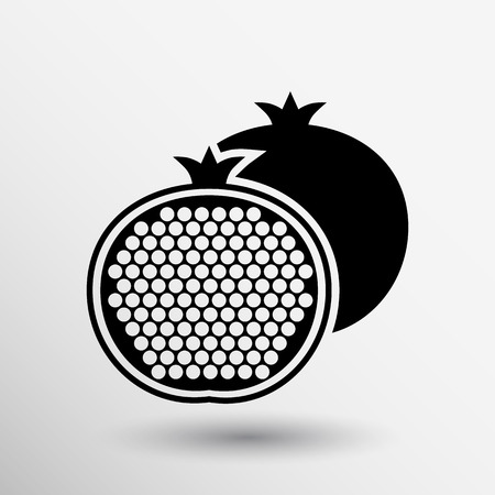 a pomegranate: Pomegranate fruit slice whole black silhouette logo.