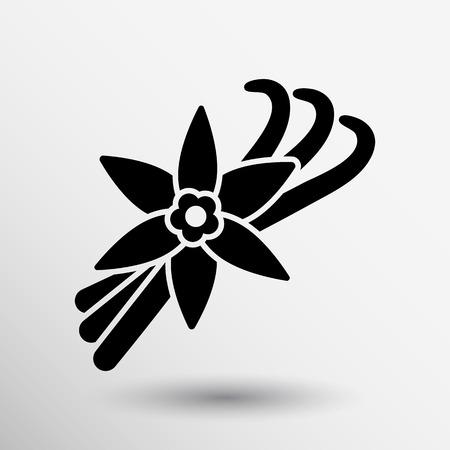 Vanilla flower and vanilla pods Vector Logo.