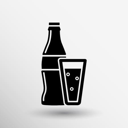 agua con gas: botella de refresco l�nea concepto de dise�o del logotipo del vector de signos.