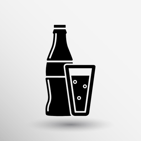 soda bottle design concept logo vector sign line.