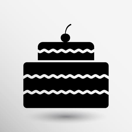 cake slice: Cake Design symbol logo dessert food sweet. Illustration