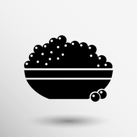 appetizer: Black caviar logo seafood vector appetite appetizer.