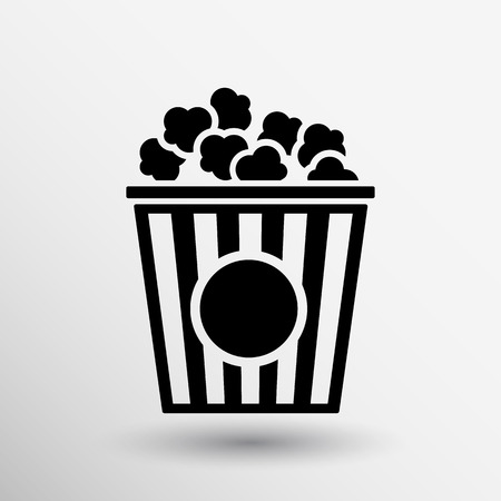movie and popcorn: Popcorn design on blue background,clean vector logo.