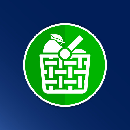 tea basket: Basket icon with shadow and other picnic icons. Illustration
