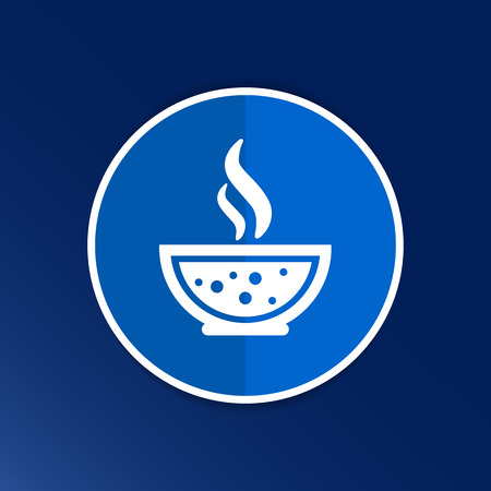 soup spoon: Bowl of Hot Soup with spoon Line Art. Icon isolated. Illustration