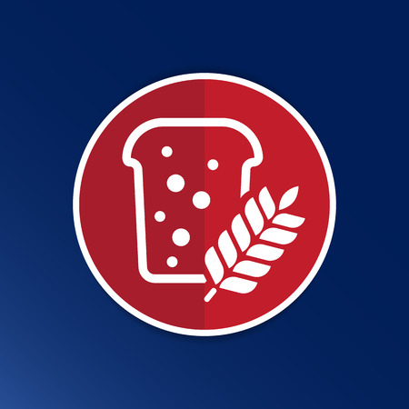 bread ornate design background logo grain meal bun. Vector