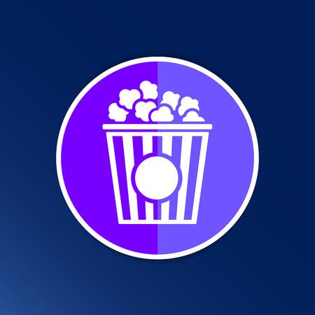 palomitas de maiz: Diseño de las palomitas en el fondo azul, vector logo limpio.