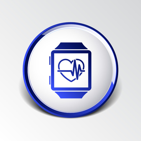 Vector illustration pulsometer heart rate monitor watch icon. Vector