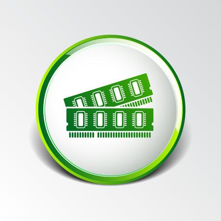 data memory: icon of memory chip RAM hardware rom power. Illustration