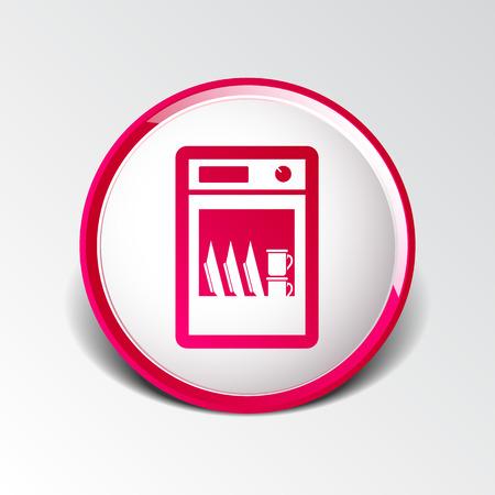 washer: icon dishwasher dishe washer vector kitchen clean.
