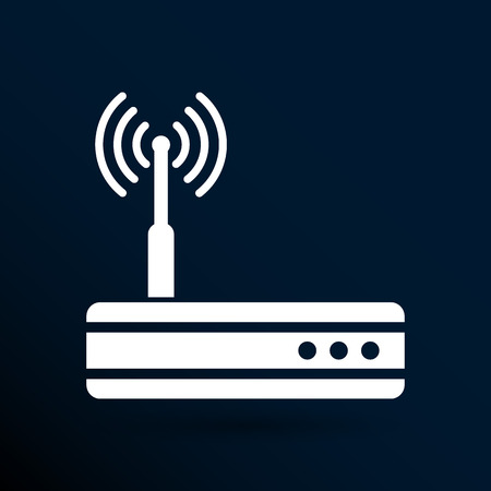 router: Vector wireless router icon wifi adsl ethernet modem hub .