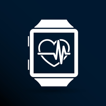 tonograph: Vector illustration pulsometer heart rate monitor watch icon.