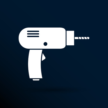 power icon: Drill icon  power tool vector hand symbol manual.
