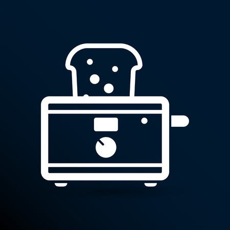 ready cooked: toaster icon isolated slice crust white snack appliance. Illustration