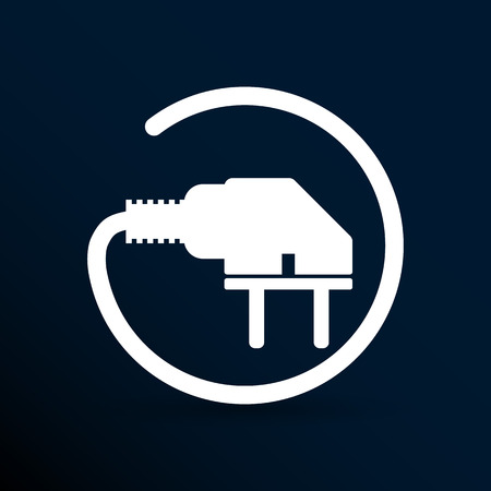unplugged: El�ctrico icono de salida del vector de energ�a cable de corriente.