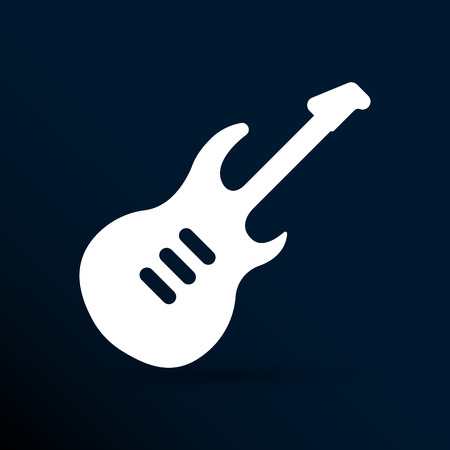 rythm: guitar icon with long shadow melody electric.