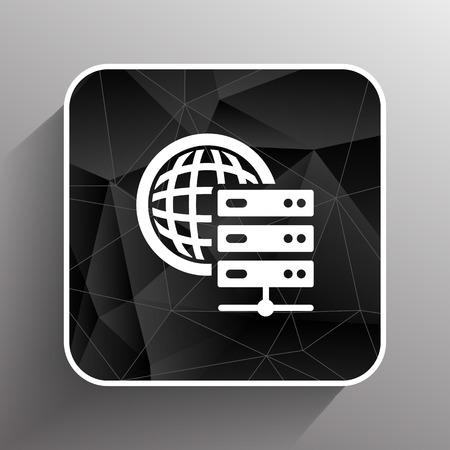 estação de trabalho: Planeta mundo �cone do s�mbolo dos esta��o de trabalho do servidor.