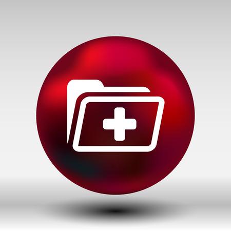 historia clinica: Icono de la carpeta de registro de salud médica
