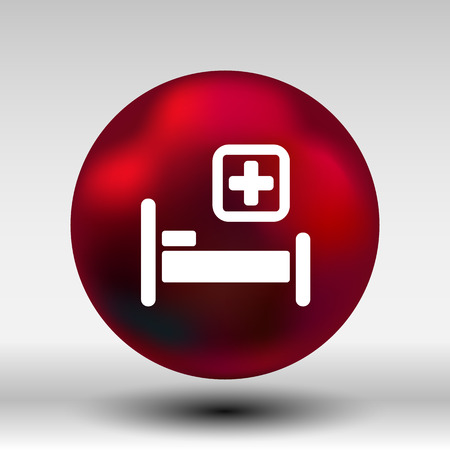 hospital bed: Hospital bed and cross icon