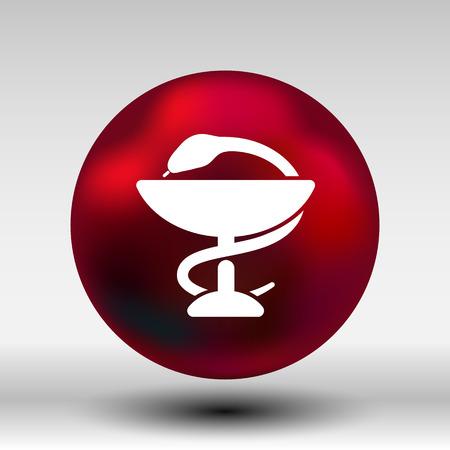 pharmacy snake symbol: snakes and glass icon Illustration