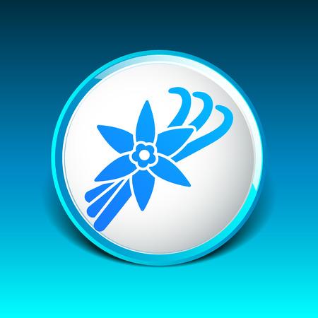 vainilla flor: Vanilla icono de flores y vainas de vainilla Vectores
