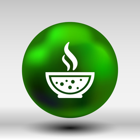 thai noodle: Bowl of Hot Soup with spoon Line Art. Icon isolated. Illustration