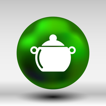 casserole: Logo pot casserole cooking Vector image sign. Illustration