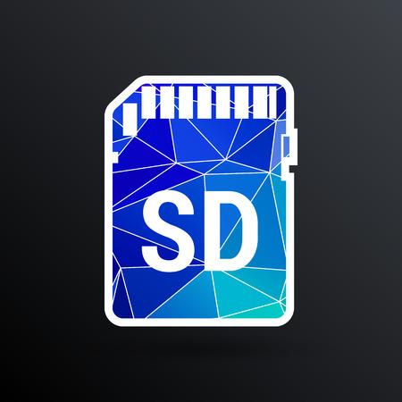 sd card: Vector Icon SD card black silhouette symbol.