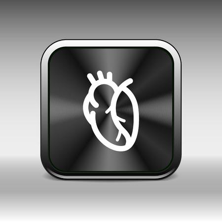 cardiovascular: vector red human heart icon cardio cardiovascular. Illustration
