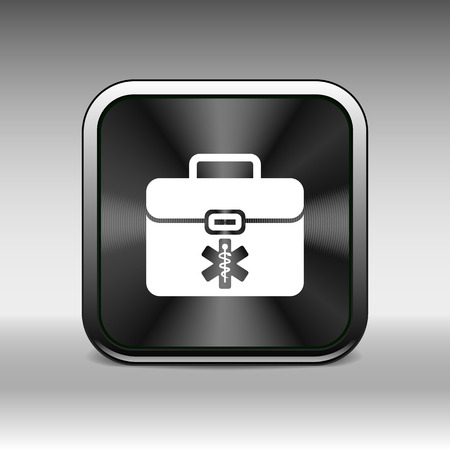 diplomat: First aid vector icon kit medical box cross symbol.