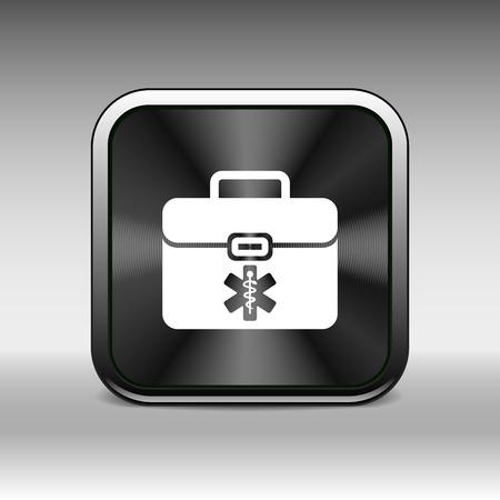 medical box: First aid vector icon kit medical box cross symbol.