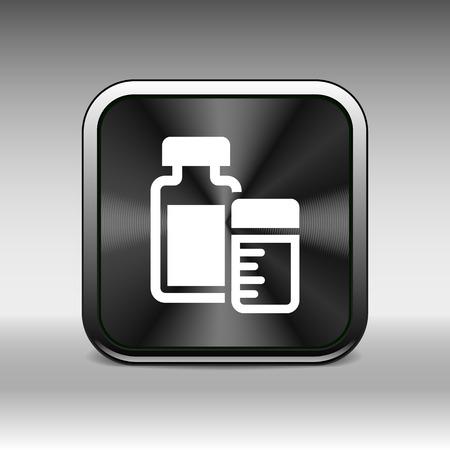 fiole: m�dicaments ic�ne chimie de vecteur de style design plat. Illustration