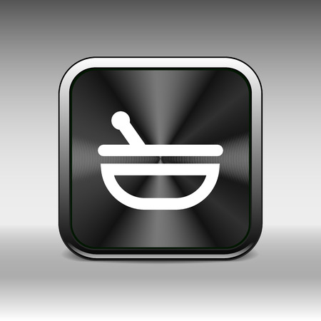 morter: Mortar and pestle with blue tablets icon.