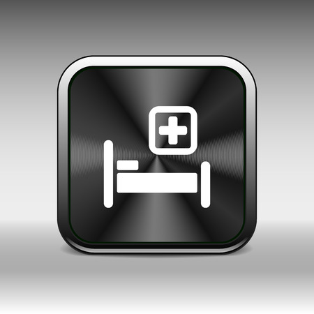surgery stretcher: Hospital bed and cross, vector icon doctor health care. Illustration