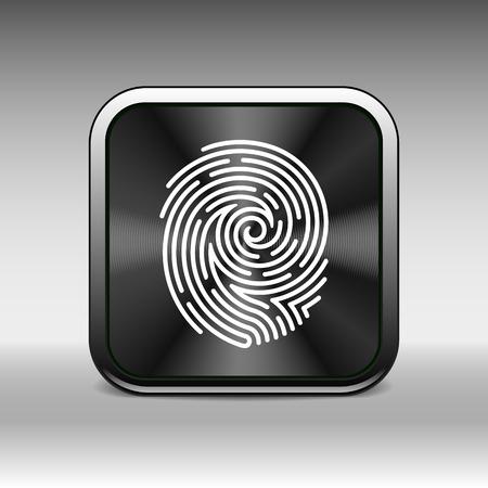 dedo: Icono de la huella digital del vector Identificación del robo de la huella digital macro sello. Vectores