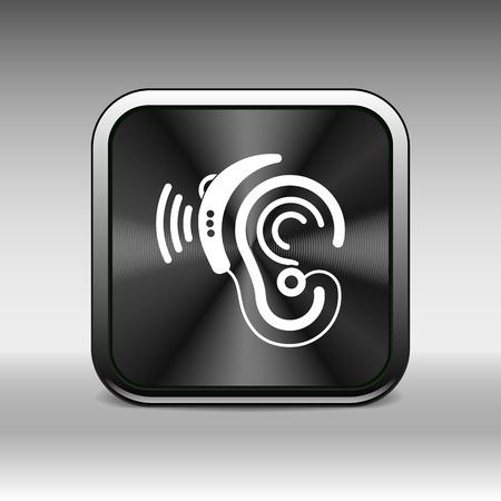 hearing aid: Ear vector icon hearing aid ear listen sound graphics.