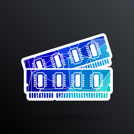 rom: icon of memory chip RAM hardware rom power. Illustration