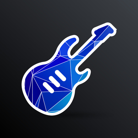 guitar icon with long shadow melody electric.