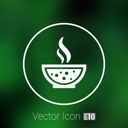 restaurateur: Bowl of Hot Soup with spoon Line Art. Icon isolated. Illustration
