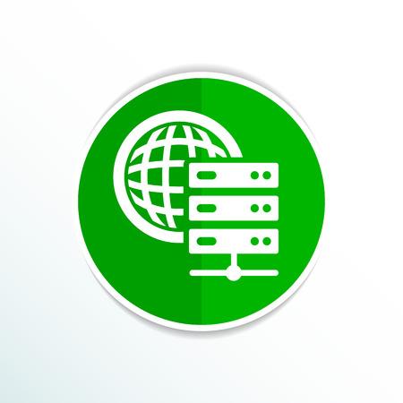 internet terminals: Planet Server icon symbol design workstation world.